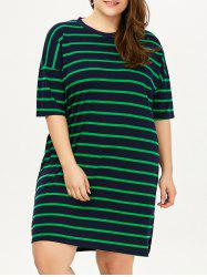 Plus Size Drop Shoulder Stripe Tee Dress