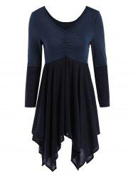 V Neck Long Sleeve Asymmetric Mini Dress - PURPLISH BLUE
