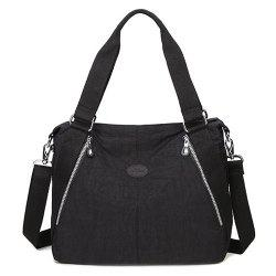 Nylon Zips Detail Shoulder Bag