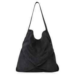Casual Slouch Canvas Shoulder Bag - BLACK