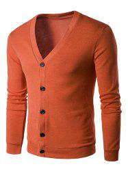 Cotton Blends V Neck Single Breasted Cardigan - JACINTH
