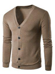 Cotton Blends V Neck Single Breasted Cardigan - COFFEE