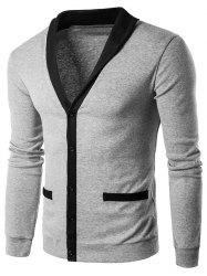 V Neck Single Breasted Knit Blends Cardigan - LIGHT GRAY