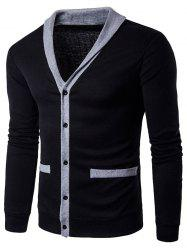 Col en V unique poitrine Knit Blends Cardigan - Noir L