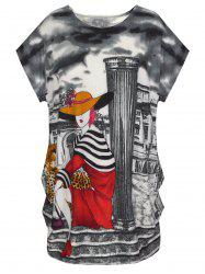 Cute Graphic Allover Print Oversized Tee -