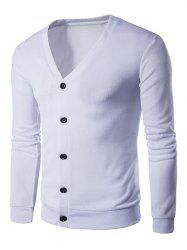 Cotton Blends V Neck Button Up Cardigan