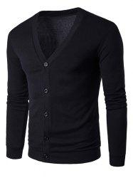 Cotton Blends V Neck Single Breasted Cardigan - BLACK