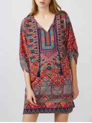 Tassels Tribal Printed Mini Dress