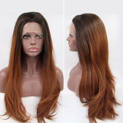 Long Straight Tail Adduction Lace Front Synthetic Hair Wig - COLORMIX
