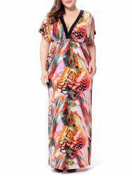 Peacock Leather Printed Plunge Maxi Dress