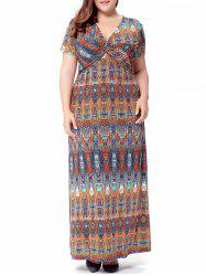 Printed Knot Long Bohemian Dress