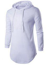 Drawstring capuche long T-shirt - Blanc
