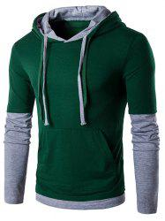 Panel Faux Twinset Hooded Drawstring T-Shirt - BLACKISH GREEN