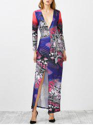 Plunging Neck Printed Slit Maxi Dress