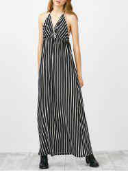 Halter Neck Striped Backless Long Dress
