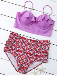 Print Padded High Waist Plus Size Bathing Suits - COLORMIX 2XL