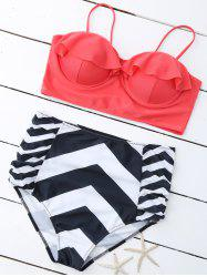 Plus Size Cute High Waist Striped Padded Bikini
