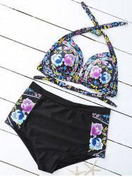 Floral High Waist Plus Size Bathing Suits - YELLOW 2XL