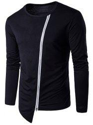 Oblique Zip Up Design Long Sleeve T-Shirt