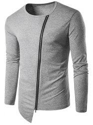 Zip Oblique Up T-shirt à manches longues de conception - Gris