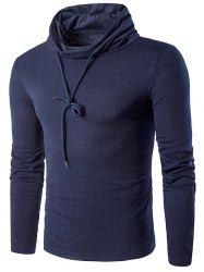 Cowl Neck Drawstring Long Sleeve T-Shirt
