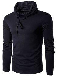 Cowl Neck Drawstring Long Sleeve T-Shirt - BLACK
