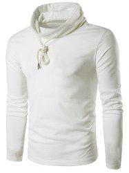 Cowl Neck Drawstring Long Sleeve T-Shirt - WHITE