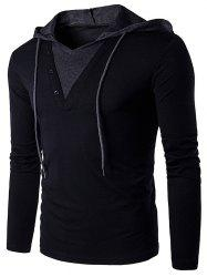 Sleeve Panel Color Bloc capuche long T-shirt - Noir