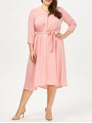 Plus Size Button Up Midi Shirt Dress