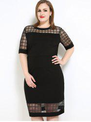 Mesh Panel Plaid Knee Length Fitted Plus Size Dress