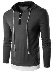 Hooded Faux Twinset Panel Long Sleeve T-Shirt