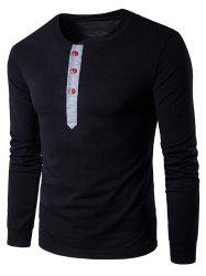 Crew Neck Buttons Panel Long Sleeve T-Shirt