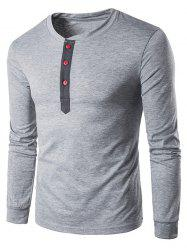 Crew Neck Buttons Panel Long Sleeve T-Shirt - LIGHT GRAY