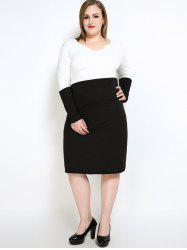 Long Sleeve Color Block Plus Size Dress