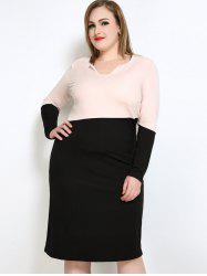 Casual Two Tone Plus Size Long Sleeve Dress