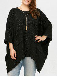Asymmetric Batwing Sleeve Plus Size Top