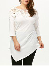 Plus Size Boat Neck Asymmetric Top