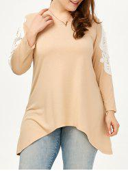 Lace Trim Long Sleeve Plus Size Tunic Top