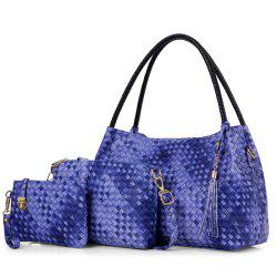 Woven Tassel Detail Shoulder Bag Set - BLUE