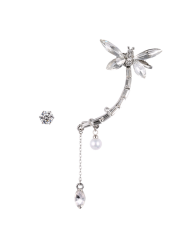 Fake Pearl Dragonfly Ear Cuff and Rhinestone Earring