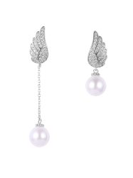 Wing Fake Pearl Asymmetric Earrings