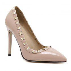 Metal Rivets Pointed Toe Pumps - APRICOT