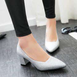Glitter Pointed Toe Block Heel Pumps
