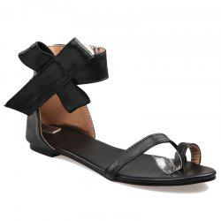 Toe Ring Faux Leather Sandals - BLACK