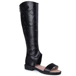 Zipper Back Hollow Out Mid Calf Sandals