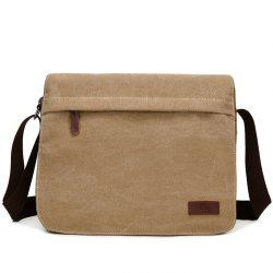 Casual Flap Canvas Messenger Bag - KHAKI