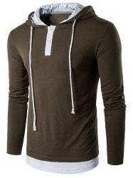 Hooded Faux Twinset Panel Long Sleeve T-Shirt - ARMY GREEN