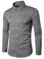 Turndown Collar Long Sleeve Slimming Shirt