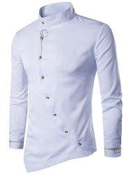 Oblique Button Embroidered Long Sleeve Shirt