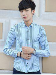 Button Up Stripe Long Sleeve Shirt